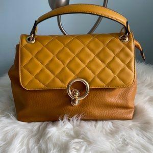Mustard genuine leather handbag